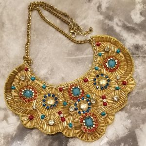 Gold And Turquoise Ornate Statement Necklace